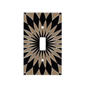 Shiny silver and black glass texture light switch cover