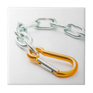 Shiny silver and gold chain clip with links ceramic tiles