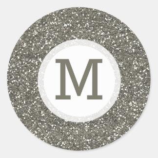 Shiny Silver Glitter Monogram Seal Round Sticker