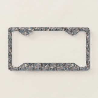 Shiny Silver-Gray Circle Spirals Pattern License Plate Frame