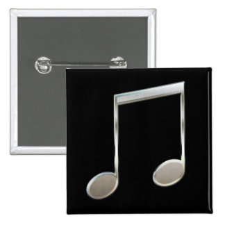 Shiny Silver Music Notation Beamed Whole Notes 2 Inch Square Button
