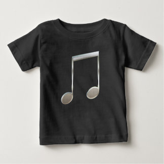 Shiny Silver Music Notation Beamed Whole Notes Baby T-Shirt
