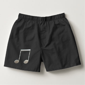 Shiny Silver Music Notation Beamed Whole Notes Boxers