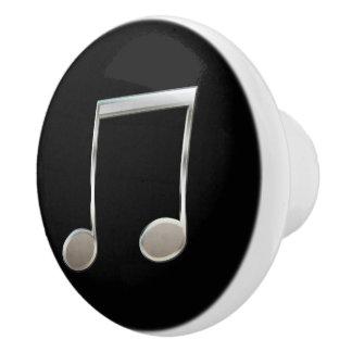 Shiny Silver Music Notation Beamed Whole Notes Ceramic Knob