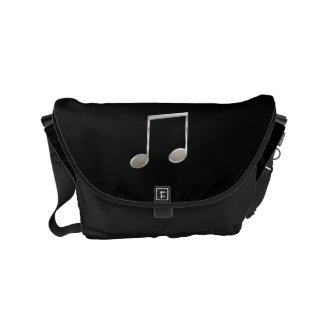Shiny Silver Music Notation Beamed Whole Notes Commuter Bag