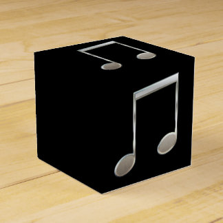 Shiny Silver Music Notation Beamed Whole Notes Favor Boxes
