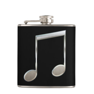 Shiny Silver Music Notation Beamed Whole Notes Hip Flask