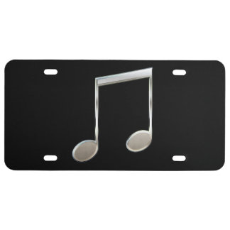 Shiny Silver Music Notation Beamed Whole Notes License Plate