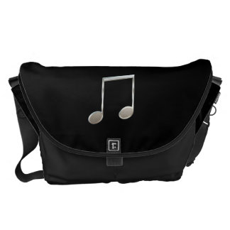 Shiny Silver Music Notation Beamed Whole Notes Messenger Bag