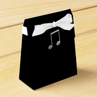 Shiny Silver Music Notation Beamed Whole Notes Party Favor Box