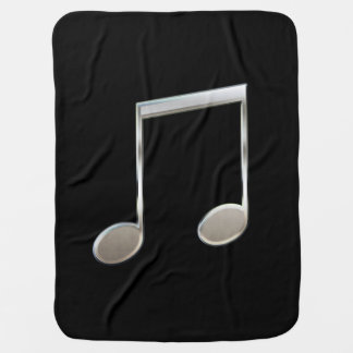 Shiny Silver Music Notation Beamed Whole Notes Receiving Blankets