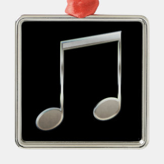 Shiny Silver Music Notation Beamed Whole Notes Silver-Colored Square Ornament
