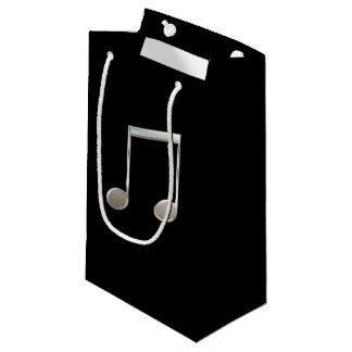 Shiny Silver Music Notation Beamed Whole Notes Small Gift Bag