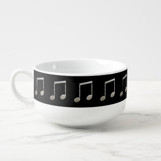Shiny Silver Music Notation Beamed Whole Notes Soup Bowl With Handle
