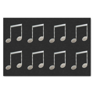 Shiny Silver Music Notation Beamed Whole Notes Tissue Paper