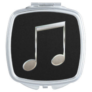 Shiny Silver Music Notation Beamed Whole Notes Vanity Mirror