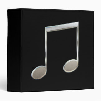Shiny Silver Music Notation Beamed Whole Notes Vinyl Binders