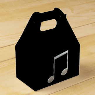 Shiny Silver Music Notation Beamed Whole Notes Wedding Favor Box