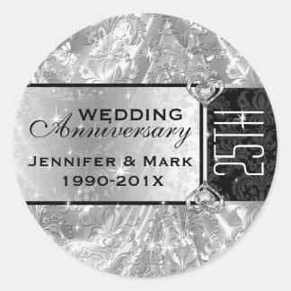 Shiny Silver & Sparkles 25th Wedding Anniversary Classic Round Sticker
