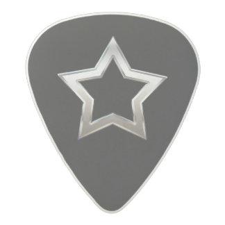 Shiny Silver Star Shape Outline Digital Design Acetal Guitar Pick
