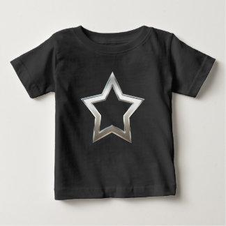 Shiny Silver Star Shape Outline Digital Design Baby T-Shirt