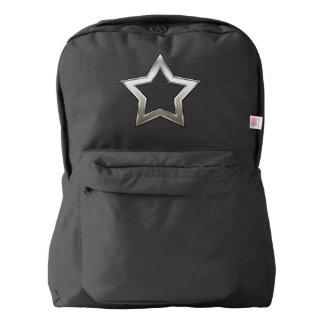 Shiny Silver Star Shape Outline Digital Design Backpack