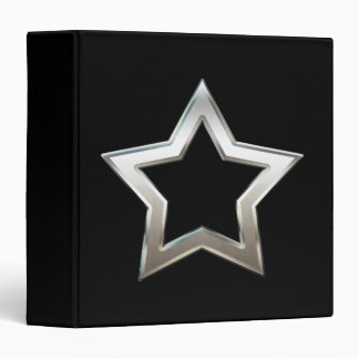 Shiny Silver Star Shape Outline Digital Design Binder