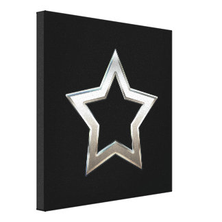 Shiny Silver Star Shape Outline Digital Design Canvas Print