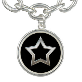 Shiny Silver Star Shape Outline Digital Design Charm Bracelet