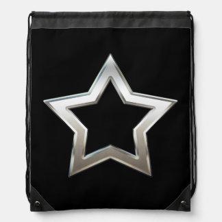 Shiny Silver Star Shape Outline Digital Design Cinch Bags