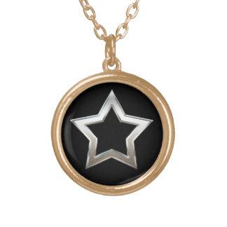 Shiny Silver Star Shape Outline Digital Design Gold Plated Necklace