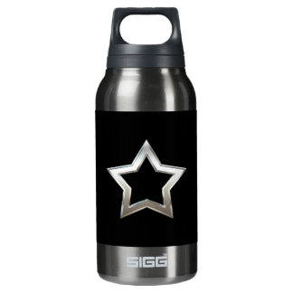 Shiny Silver Star Shape Outline Digital Design Insulated Water Bottle