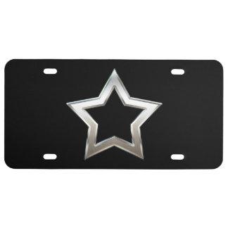 Shiny Silver Star Shape Outline Digital Design License Plate
