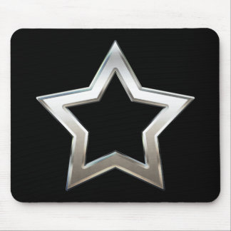 Shiny Silver Star Shape Outline Digital Design Mouse Pad