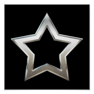 Shiny Silver Star Shape Outline Digital Design Poster