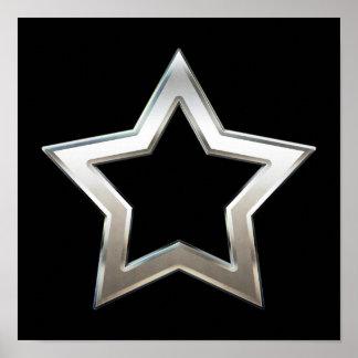 Shiny Silver Star Shape Outline Digital Design Poster
