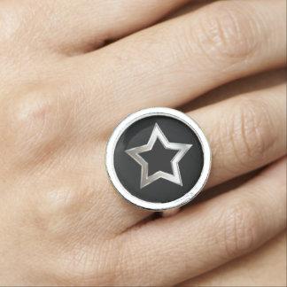 Shiny Silver Star Shape Outline Digital Design Rings