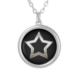 Shiny Silver Star Shape Outline Digital Design Silver Plated Necklace