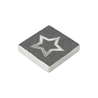 Shiny Silver Star Shape Outline Digital Design Stone Magnets