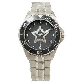 Shiny Silver Star Shape Outline Digital Design Wristwatch