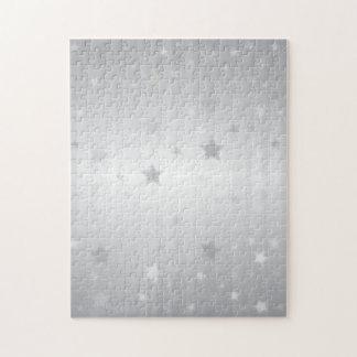 Shiny Silver Stars Jigsaw Puzzle