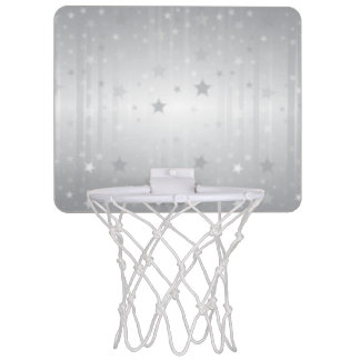 Shiny Silver Stars Mini Basketball Hoop