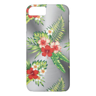 Shiny Silver & Tropical Flowers Pattern iPhone 7 Case