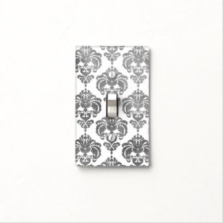 Shiny Silver & White Glam Pattern Modern Chic Light Switch Cover
