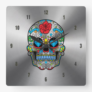 Shiny Stainless Steel & Colorful Floral Skull Square Wall Clock