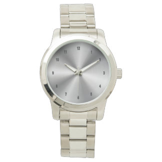 Shiny Stainless Steel Print Background Wristwatch