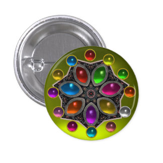SHINY STAR WITH COLORFUL GEMSTONES Gold Yellow 1 Inch Round Button
