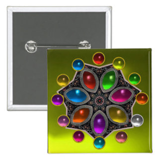 SHINY STAR WITH COLORFUL GEMSTONES Gold Yellow 2 Inch Square Button
