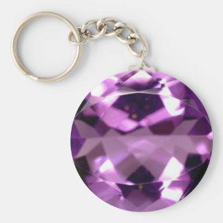 Shiny violet Amethyst gem February birthstone Basic Round Button Keychain