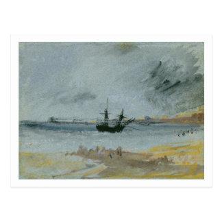 Ship Aground, Brighton, 1830 (black ink, w/c & bod Postcard
